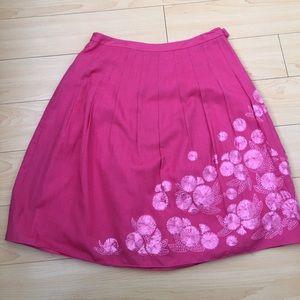Ann Taylor Fuscia Women US SZ 4P cotton 🌸 skirt